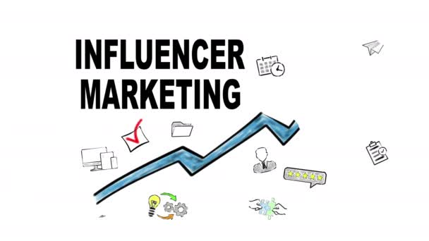 Influencer Marketing  Blue Arrow With Icons