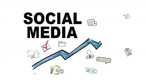Social Media. Kék nyíl ikonokkal