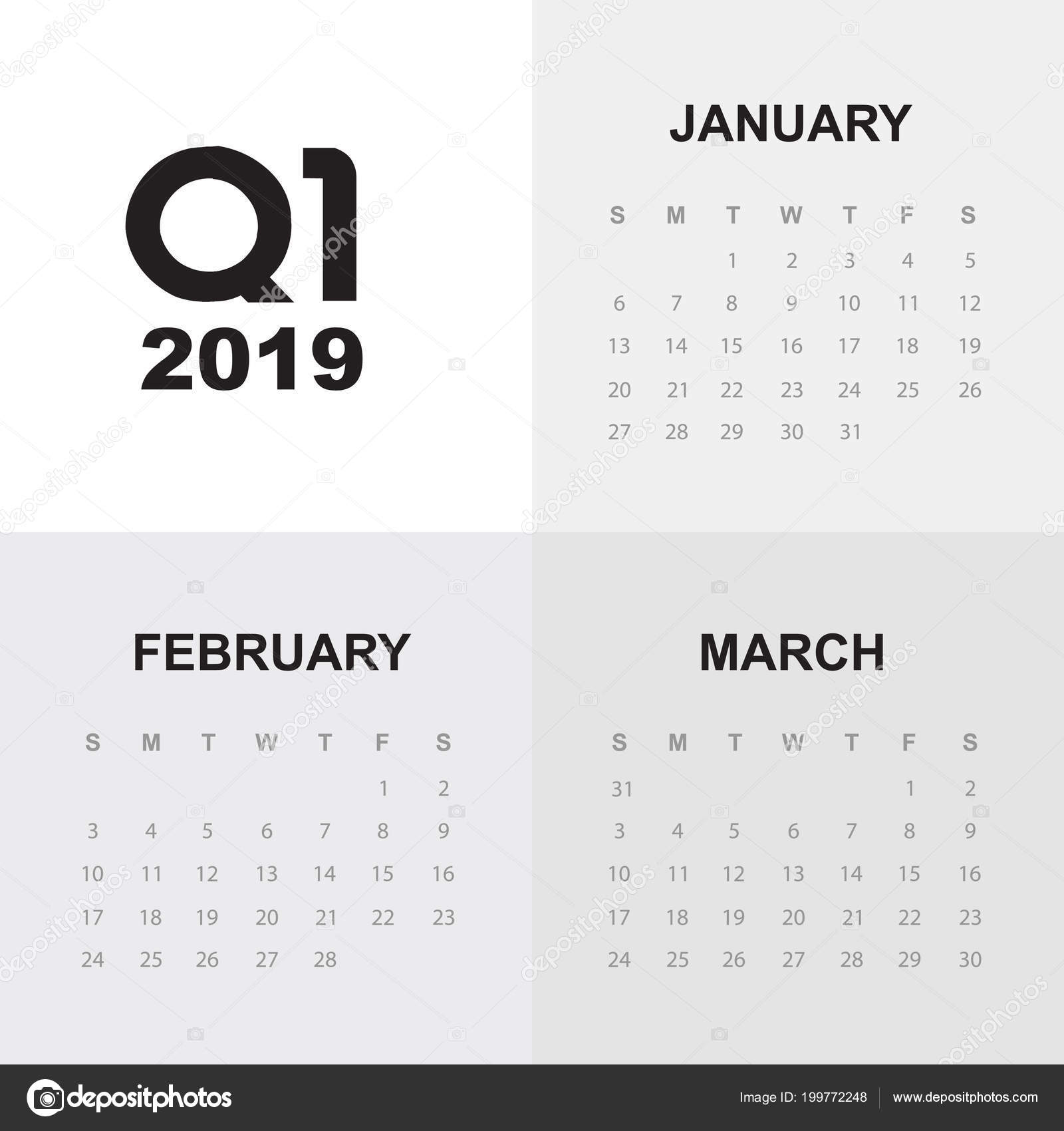 First Quarter Calendar 2019 First quarter of calendar 2019 — Stock Vector © esbeauda #199772248