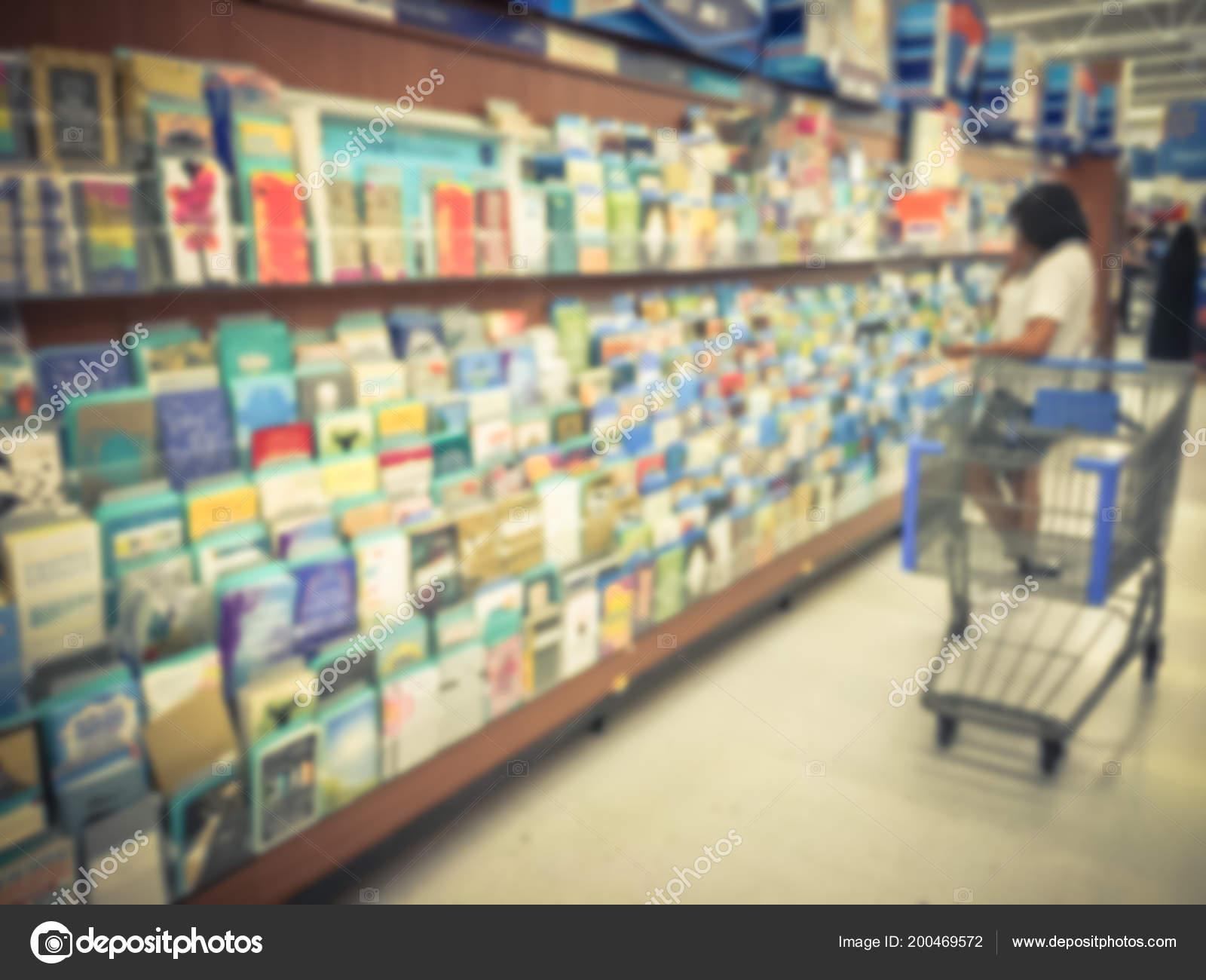 Vintage Blurred Customer Shopping Greeting Cards Retail Store Usa Seasonal Stock Photo