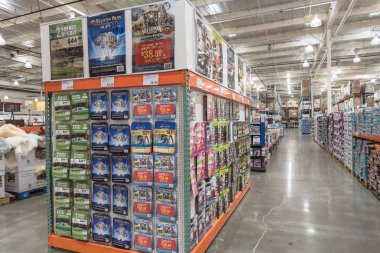 SEATTLE, WA, US-JUL 28, 2015:Inside Costco Wholesale big-boxes store from floor to ceiling. It is the largest membership-only warehouse club in USA with total of 705 warehouses worldwide stock vector