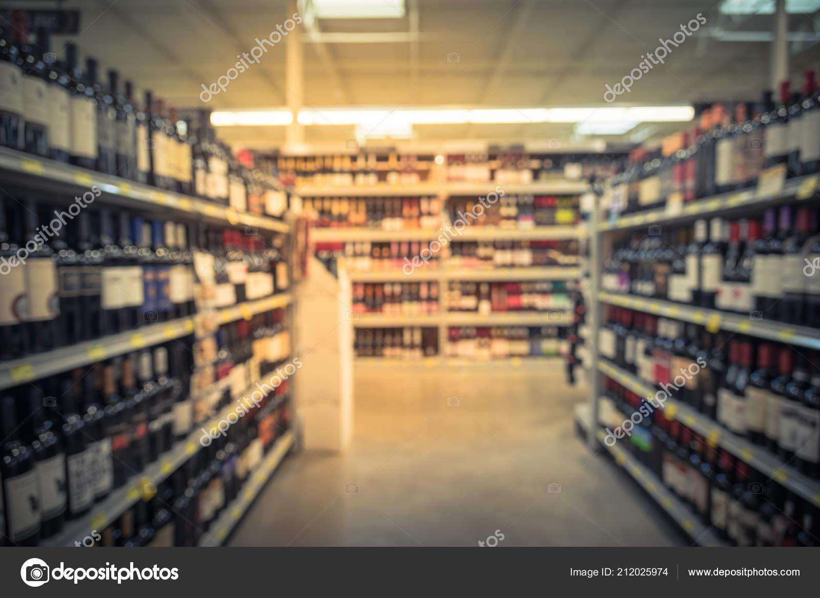 Vintage Tone Blurred Wine Shelves Price Tags Display Store