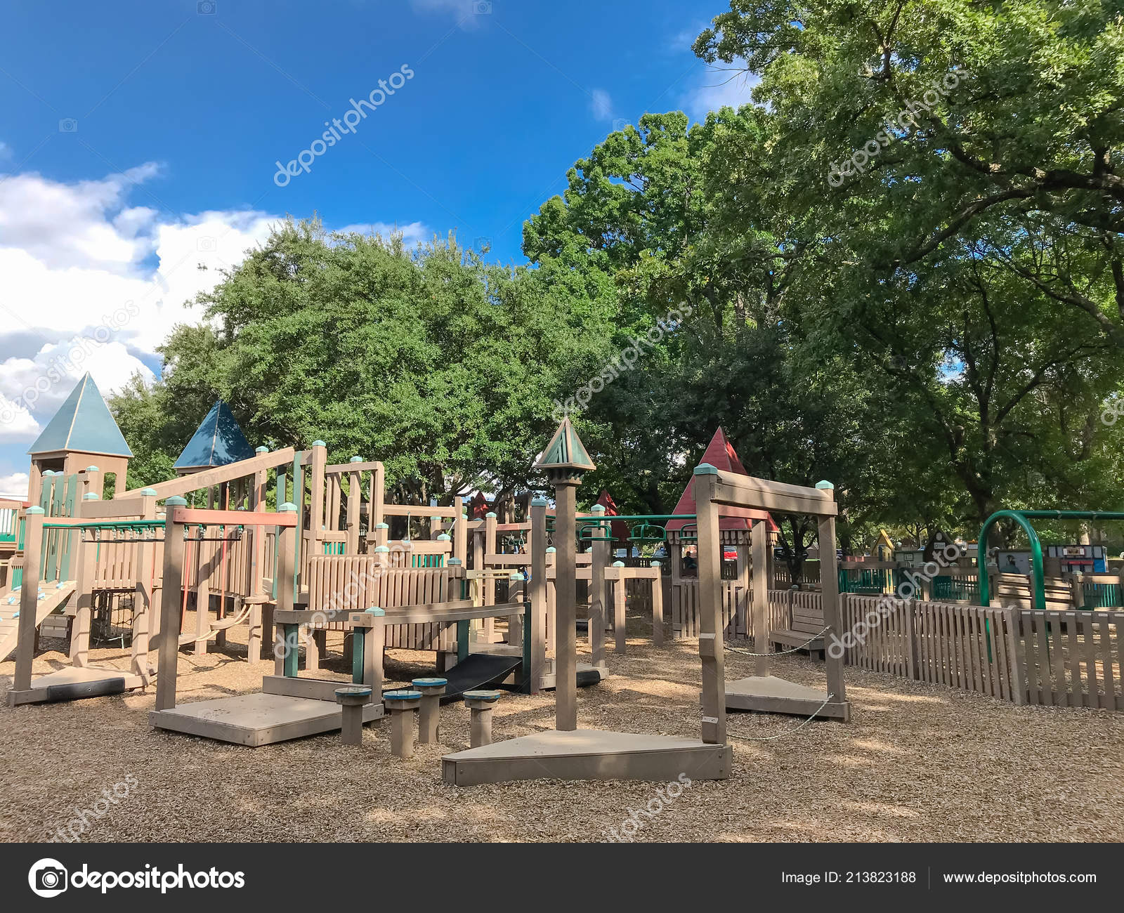 Public Wooden Children Playground Fort Castle Separate Sections
