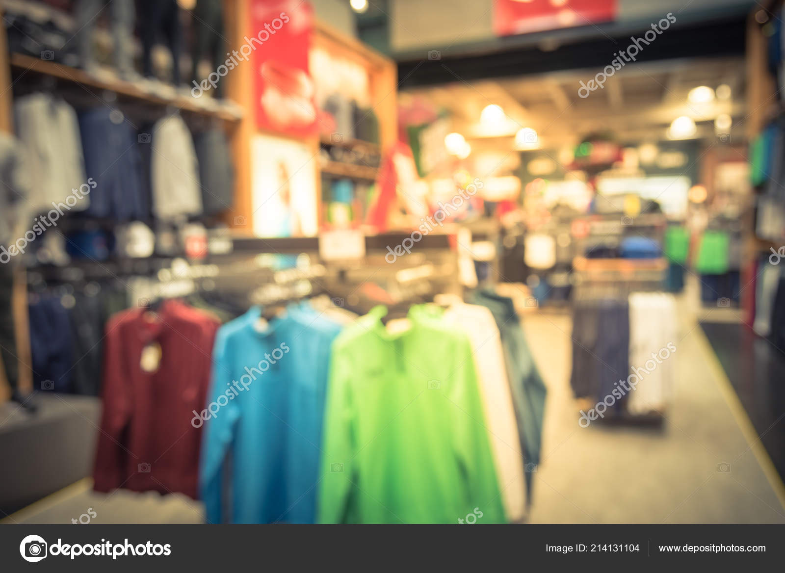 d3896d8094b88 Vintage tone blurred image interior of sports and fitness clothing store in  America. Sport shop with famous sports fashion brand worldwide of athletic  shoes ...