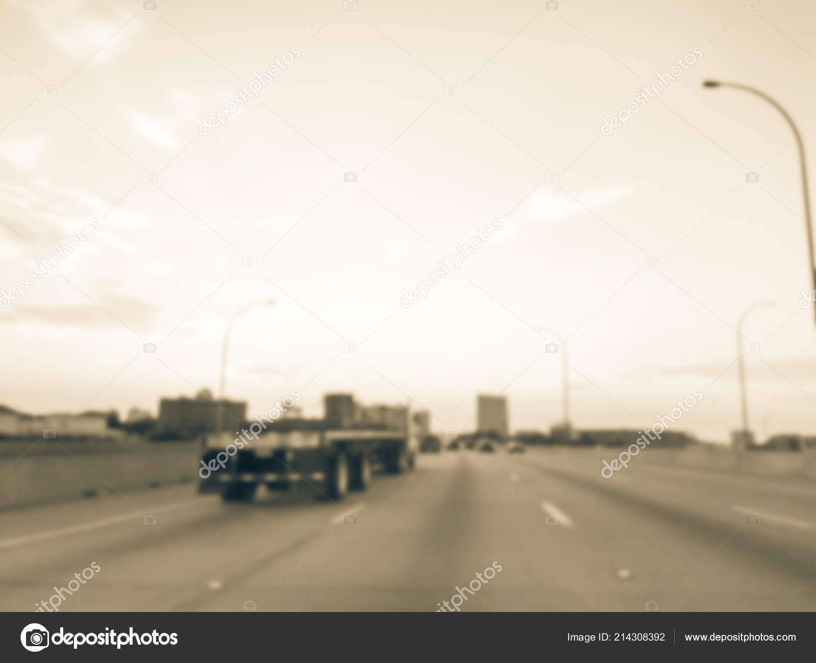 Motion Blurred Interstate 635 635 Highway Traffic Long Vehicles
