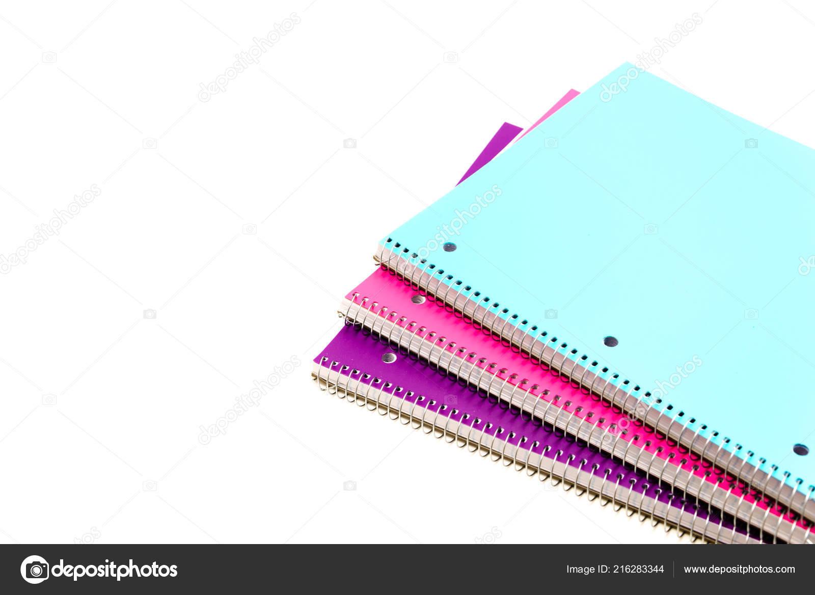 Top View Studio Shot Three Subject Notebooks Isolated White