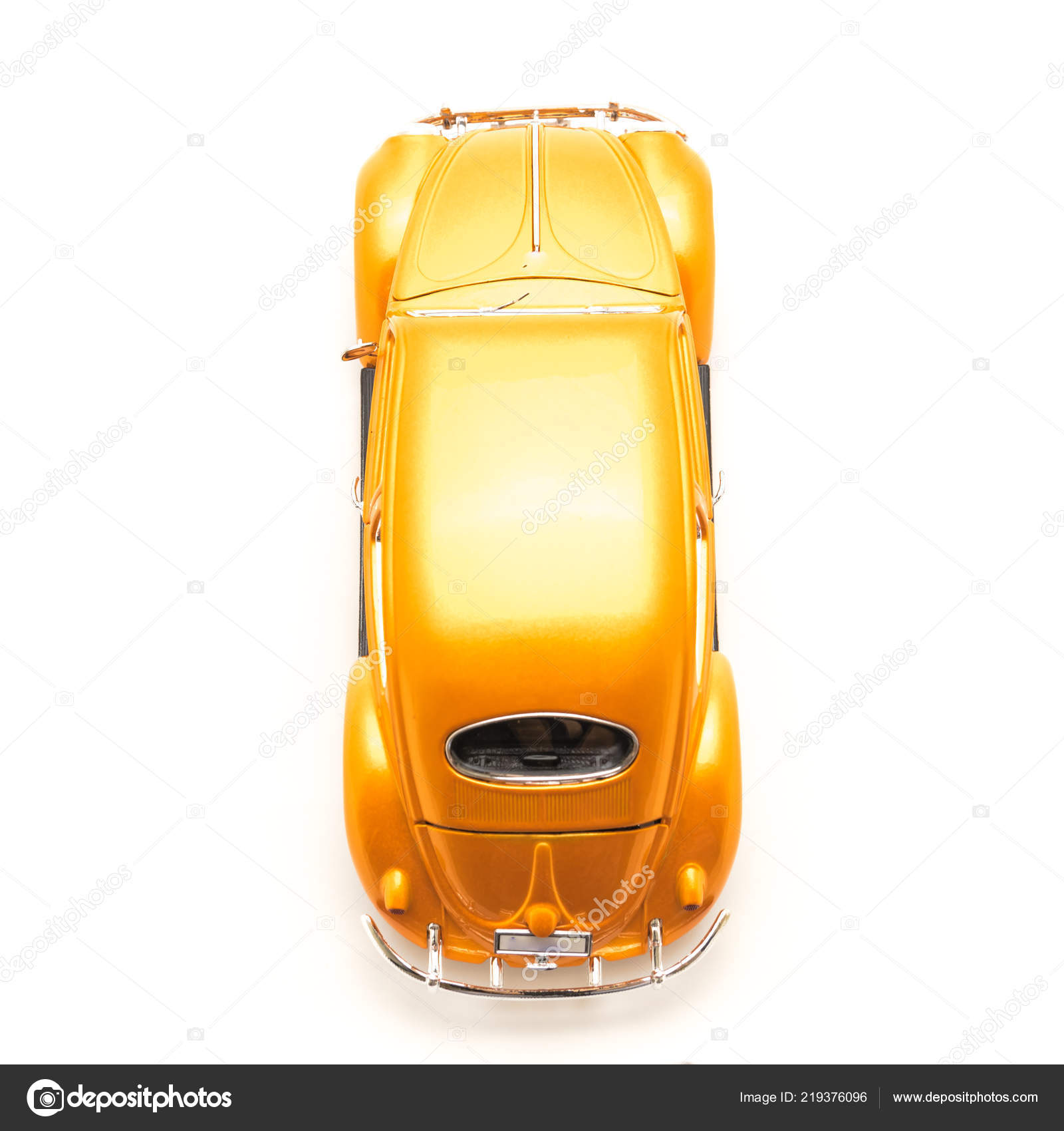 Studio Shot Top View Orange Toy Car Isolated White Background