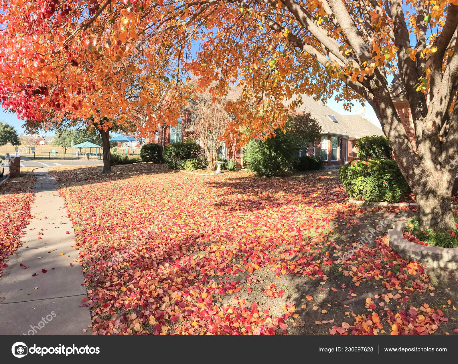 Typical Single Family House Sidewalk Suburban Dallas Texas