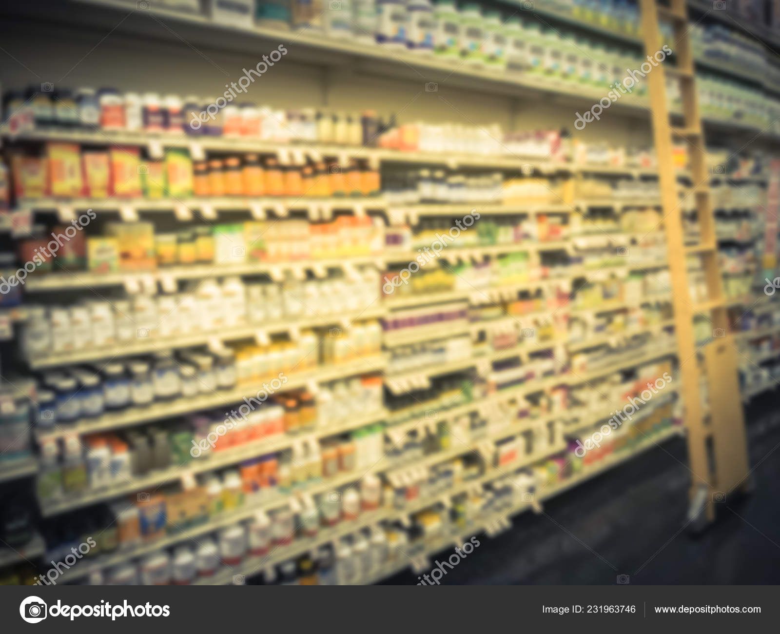 Motion Blurred Variety Vitamin Supplement Products Display Extension Ladder Grocery Stock Photo Image By C Trongnguyen 231963746