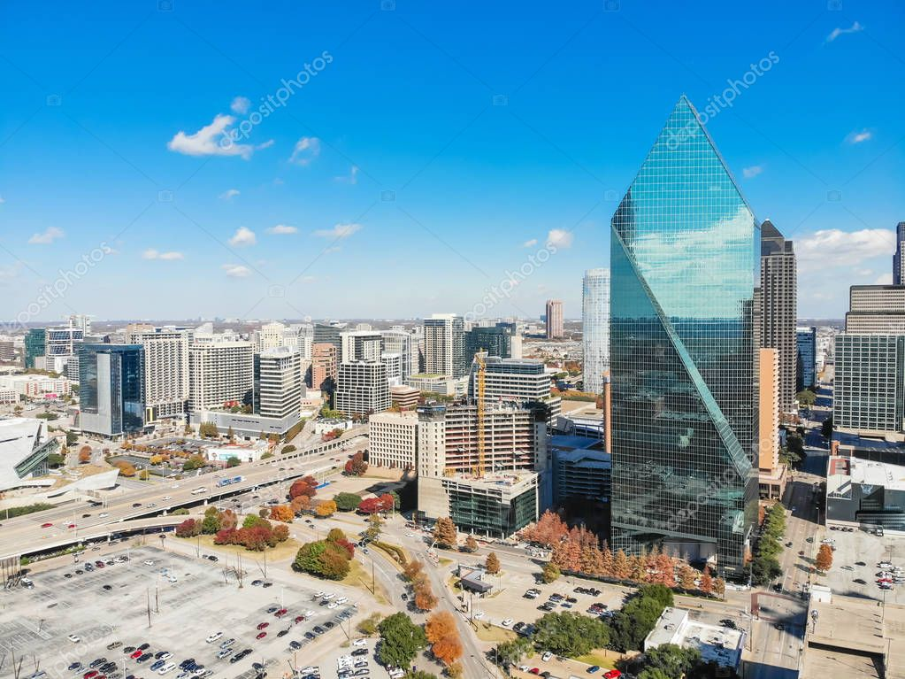 Top view downtown Dallas with skylines and colorful leaves on su