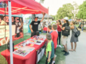 Fotografie Blurry background kids watching magic tricks at stand with professional magical in Dallas