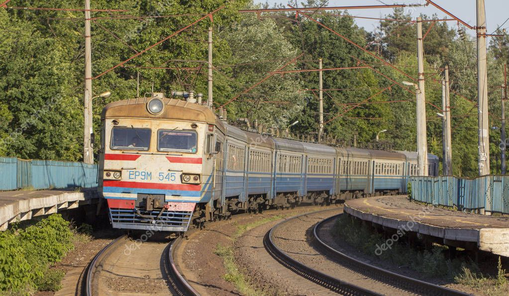 December 20, 2018 Ukraine, Bucha: The electric train stands at the railway station