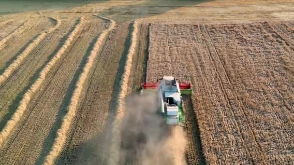 29. července 2019 Ukrajina, Bucha: Sklízeč sklízí pšenici za teplého letního dne. Pohled z ptačí perspektivy