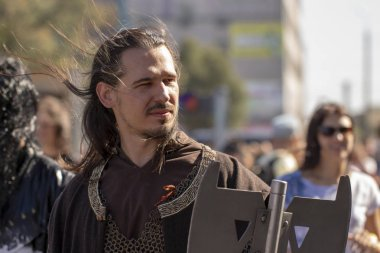 September 26, 2018, Ukraine Kiev: Contemporary Pop Culture Festival. Comic Con. Long-haired warrior in chain mail