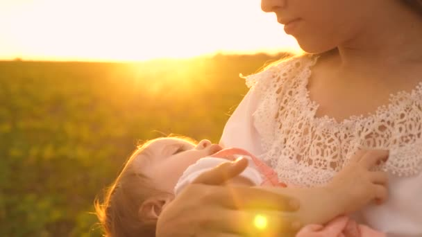 a little baby sleeps in the arms of his mother, at sunset, slow-motion shooting