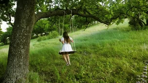 girl with long hair in a white dress swinging on a swing under a