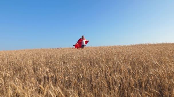 Ragazza super eroe giocare in campo con frumento su uno sfondo di cielo blu. Slow motion