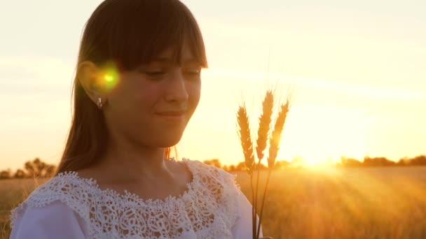 Young girl holds wheat in her hands and smiles in rays and glare of setting sun
