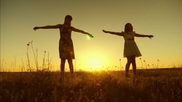 Happy teenage girls are whirling at sunset of the golden sun. Slow motion.