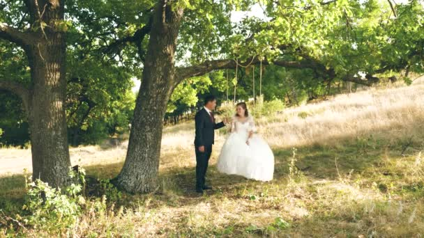 Beautiful young couple bride and groom in wedding dress on swing in park. swing on branch of an oak in summer forest and a loving couple