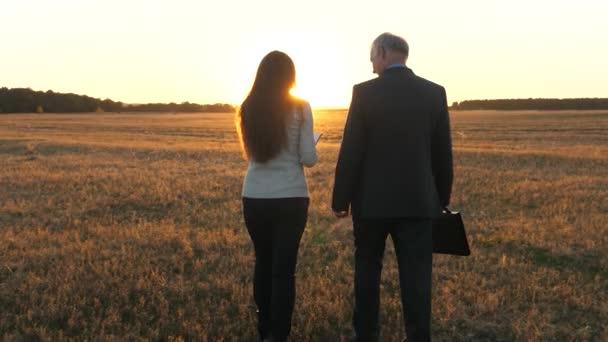 businesswoman and businessman walk across field in rays of sunset. business meeting in park in the evening