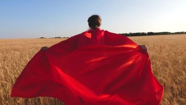 fiatal lány szuper hős játszik. gyermek a piros esőkabát, és a kék ég felé mezőn.
