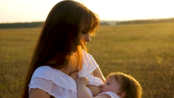 Mom holds baby in her hands and feeds him with breast milk in park in the summer.