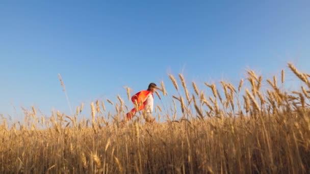 fiatal lány álma a hősiesség. Lány szuperhős piros esőkabát játszik, és fut végig a sárga mezőben kék égen. boldog gyermekkor fogalma. gyermek álmok a győzelem.