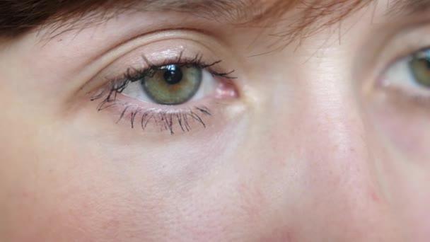 Nahaufnahme Porträt der schönen grau-grünen Augen einer jungen schönen Frau. schöne Galaza Mädchen Nahaufnahme.