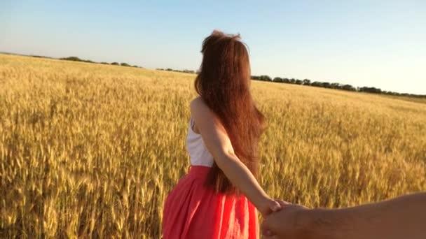 Gyere utánam. lány utazik a területen szeretett férfit. kéz a kézben. Lány, hosszú haja fut át a területen a búza, kezében egy Mans kezét és nevetve. Lassított mozgás.