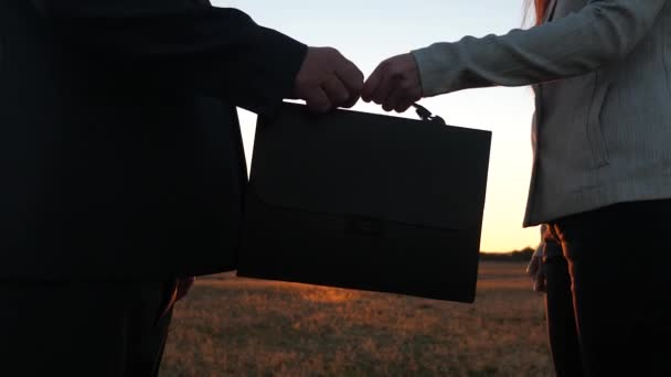 teamwork business people. businessman and businesswoman shaking hands in glow of sunset. Business woman passes briefcase with documents to businessman. farmers man and woman made a deal.