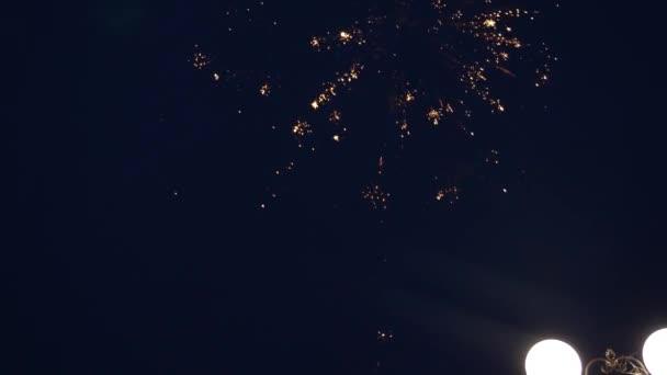 Novoroční oslava ohňostroje. zářící ohňostroj s bokeh světly na noční obloze. zářící ohňostroj. pestrobarevný ohňostroj na noční obloze. krásné barevné noční exploze na černé obloze