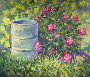Beautiful summer bush of pions near barrel in grass rural landscape. Original oil painting.
