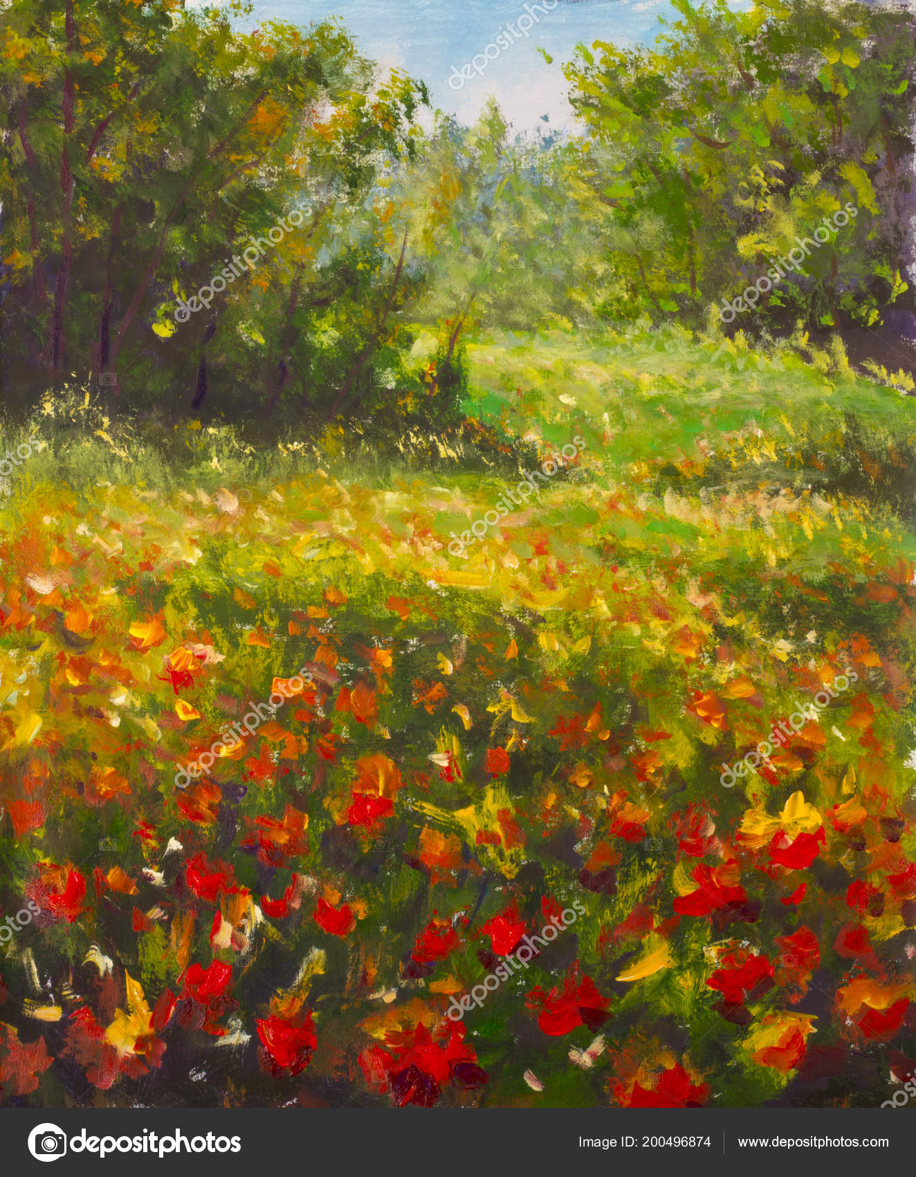 Red Poppies Painting Field Red Beautiful Flowers Warm Summer Forest ...