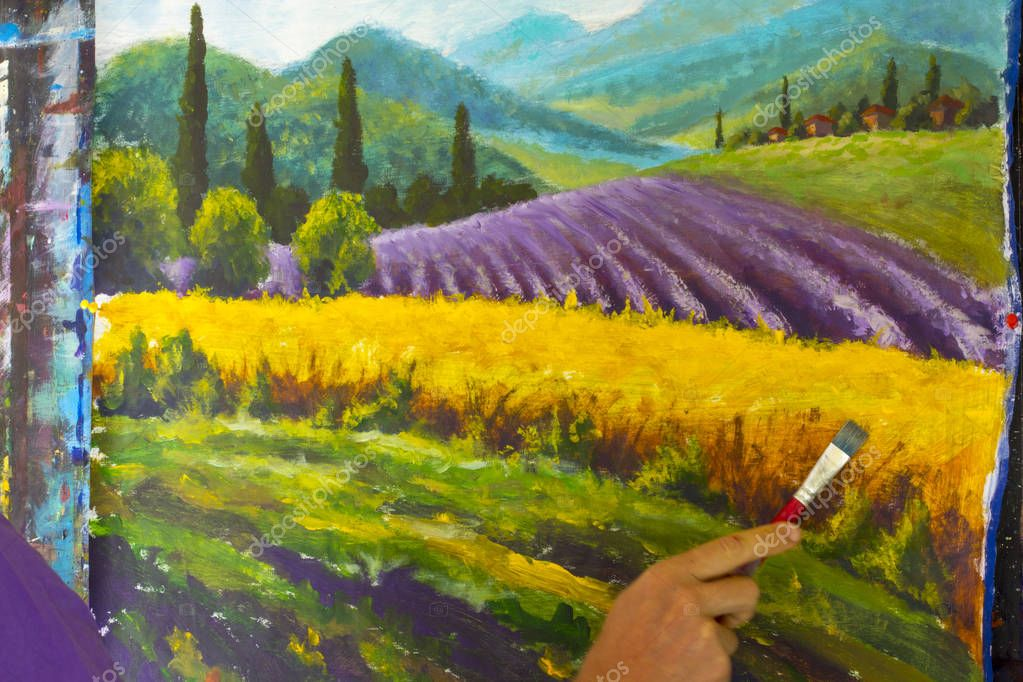 Painter artist draw with brush French summer Lavender rural landscape. French Tuscany. Field of red poppies, a field of yellow rye. Rural houses and high cypress trees on the hill. Mountains in the background painting.