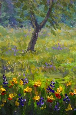 """Картина, постер, плакат, фотообои """"цветочная живопись. фиолетовый, оранжевый желтые цветы поле крупным планом, картины маслом пейзаж импрессионизм произведения искусства """", артикул 205318922"""