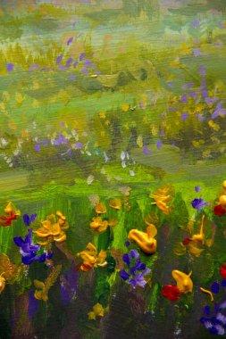 """Картина, постер, плакат, фотообои """"цветочная живопись. фиолетовый, оранжевый желтые цветы поле крупным планом, картины маслом пейзаж импрессионизм произведения искусства """", артикул 205318975"""