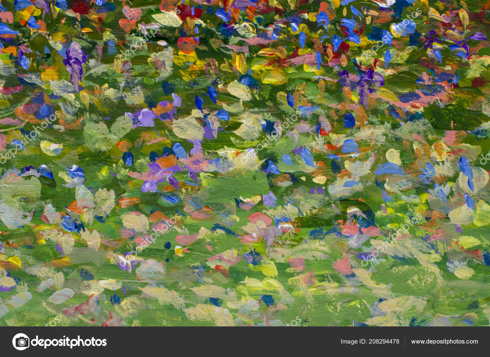 Impressionism Flowers Field Painting Handmade Multicolored Wildflowers Camomiles Poppies Flowers Stock Photo Image By C Weris7554 208294478