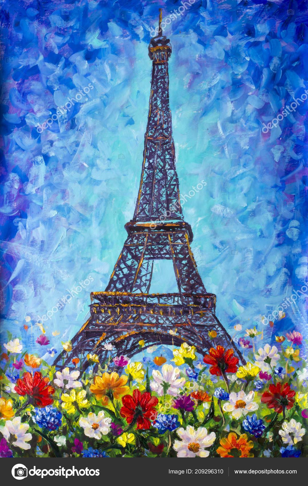 Torre Eiffel París Multicolores Flores Primavera Una ...