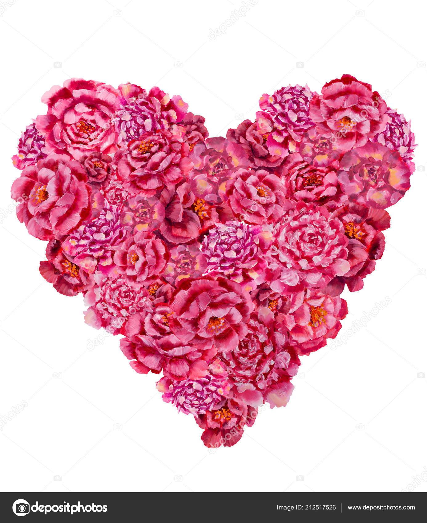 Illustration Coeur Des Fleurs Roses Rouges Coeur Floral Colore