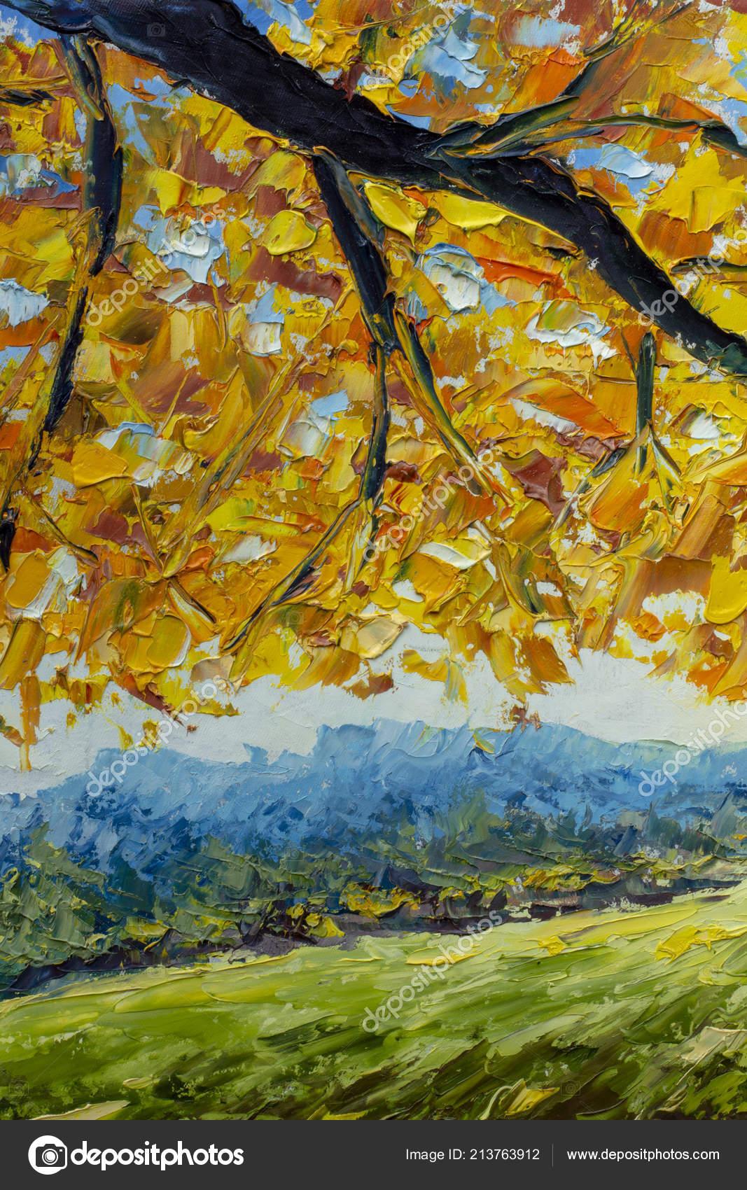 Branch Autumn Tree Golden Orange Foliage Green Field Autumn Landscape Stock Photo Image By C Weris7554 213763912