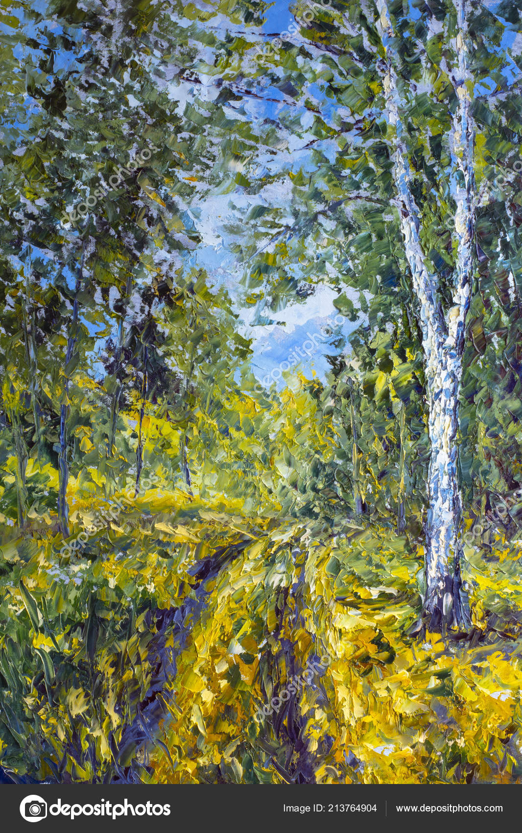 Moderni Malba Spachtli Pastozni Impresionismu Jarni Priroda Krajina