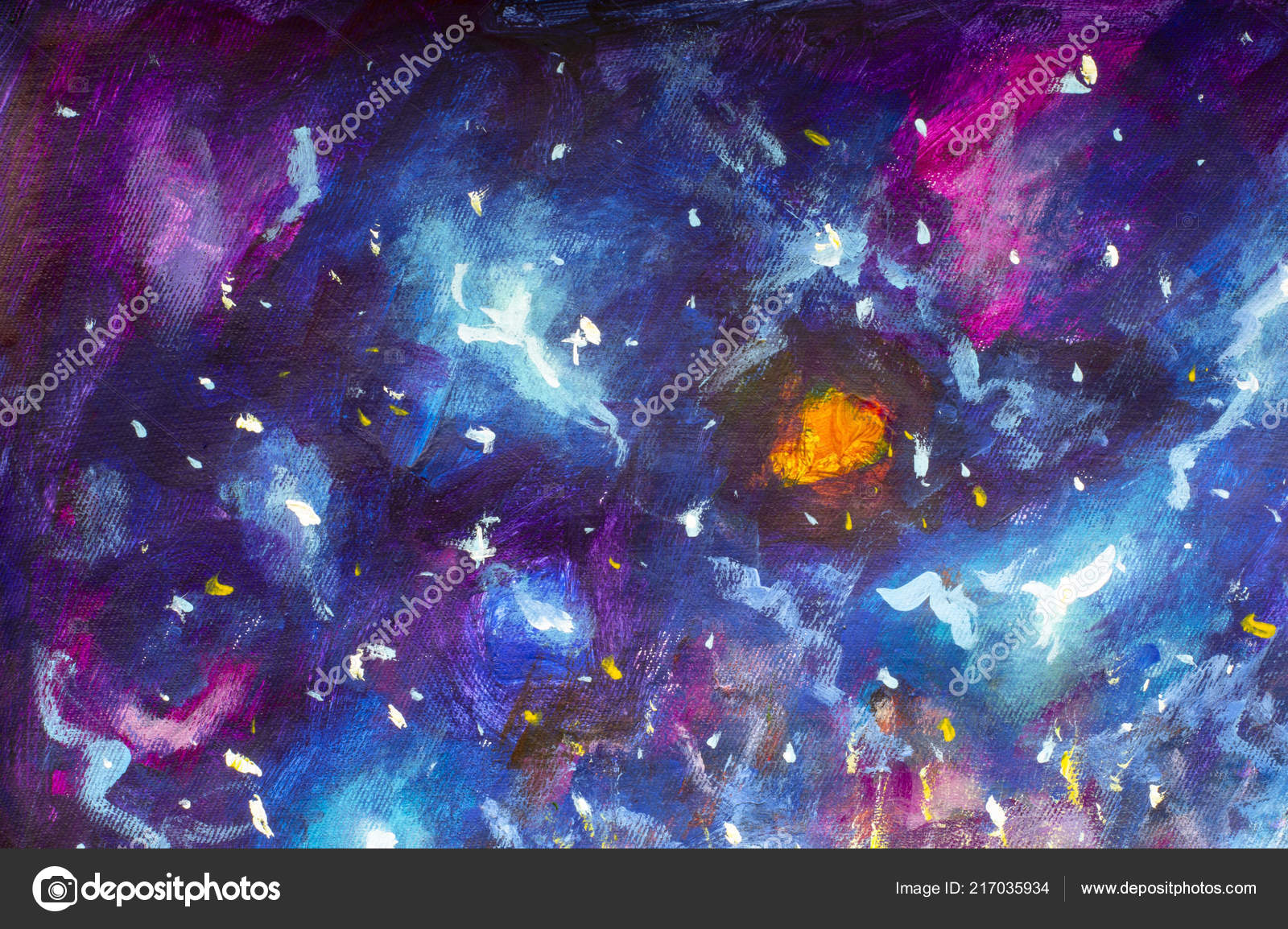 Star Modern Violet Galaxies Painting Cosmos Oil Universe Blue Canvas WYAUqWgwR