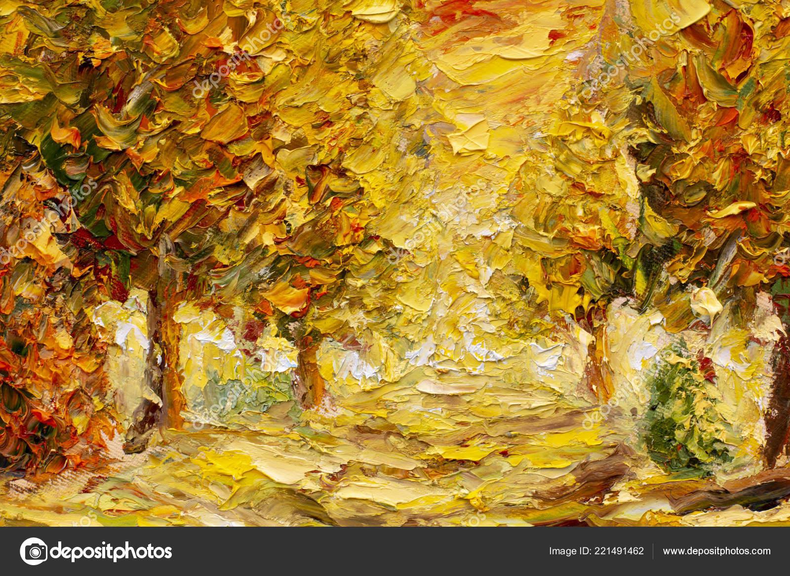Arte spatola autunno oro sfondo dipinto astratto autunno