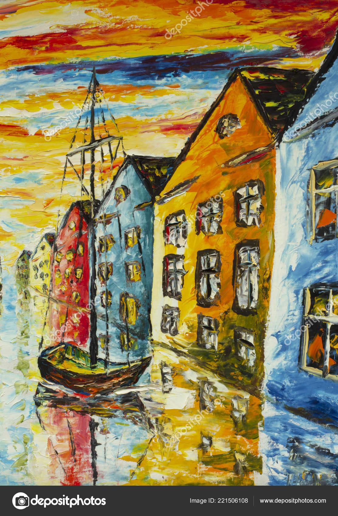 Vaak Originele Kunst Olie Paletmes Canvas Venetië Amsterdam Schilderen &GR01
