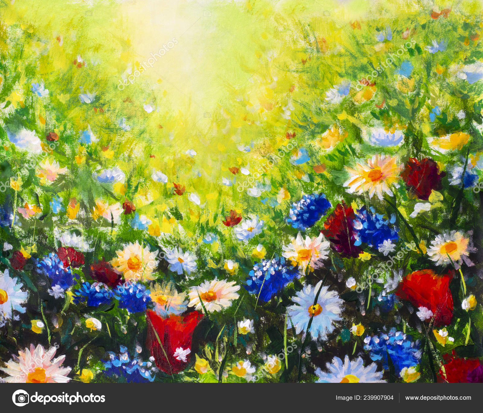 Flowers Field Oil Painting Stock Photo Image By C Weris7554 239907904
