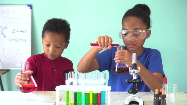 Due ragazzi misti afroamericani che testano lesperimento di laboratorio di chimica