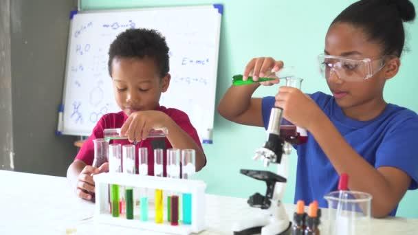 Dva afričtí američtí smíšené děti testování chemické laboratoře experiment