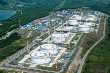 Nakhodka, Russia - July 05, 2019: Oil terminal of the company Transneft.