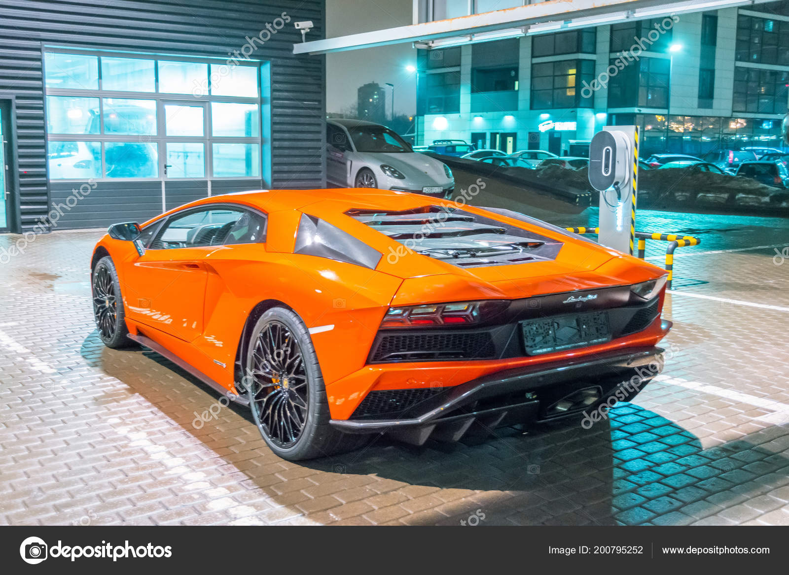Lamborghini Aventador Orange Night Streets City Parking Place Russia Saint Stock Editorial Photo C Aapsky 200795252